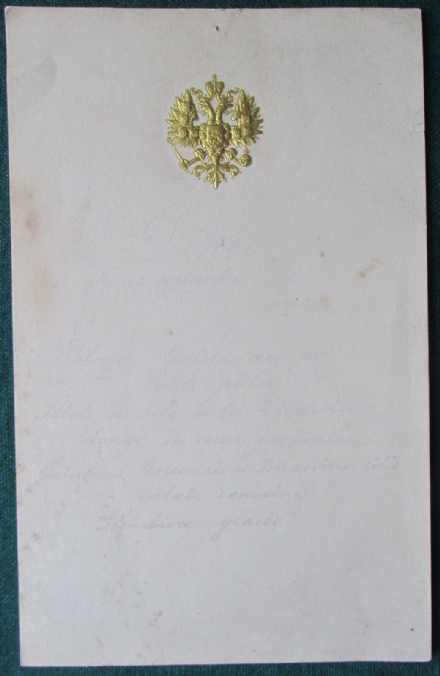 Antique Russian Imperial Menu for Tsar Nicholas II Royal Yacht Standart 1896